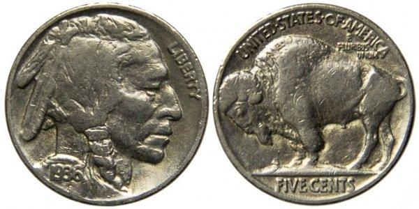 5 центов. Buffalo. 1936 год. Медно-никелевый сплав