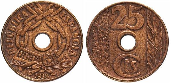 25 сентимо 1938 года. Испанская Республика. Медь