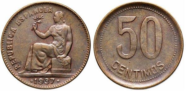 50 сентимо 1937 года. Испанская Республика. Медь
