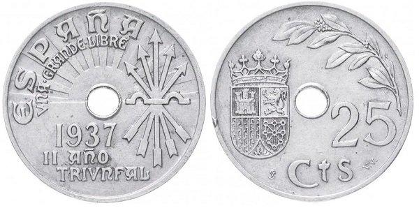 25 сентимо 1937 года. Франкистская Испания. Медно-никелевый сплав