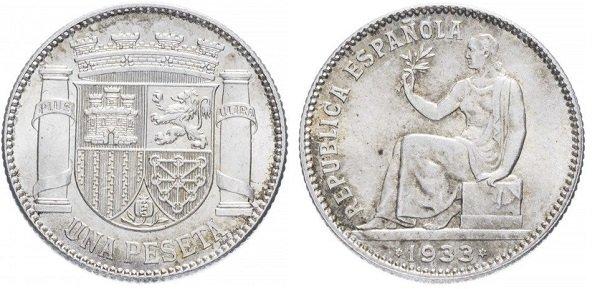 1 песета 1933 года. Испанская Республика. Серебро