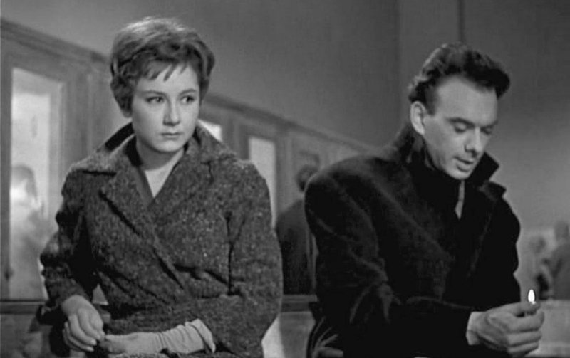 Ученые Ольга и Дмитрий Гусевы в фильме «Девять дней одного года», 1962 год