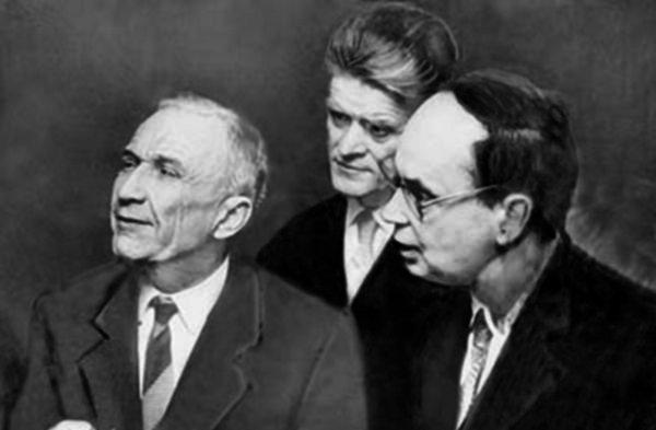 Лауреаты Нобелевской премии по физике И.Е. Тамм, П.А. Черенков и И.М. Франк, 1958 год