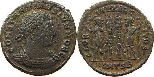 «Слава войску» - лозунг на реверсе фоллиса императора Константина II (317-340 гг.). Медь. Чекан г. Фессалоники