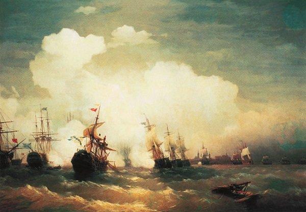 На картине Ивана Айвазовского изображен эпизод морского сражения при Ревеле (2.05.1790 г.), в котором русская эскадра адмирала В.Я Чичагова разгромила шведский флот