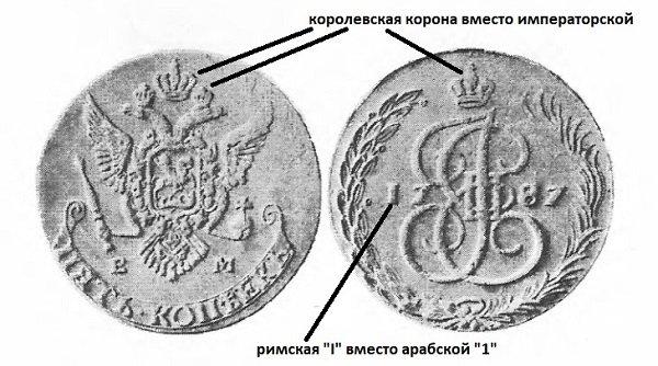 5 копеек шведской чеканки с отличительными чертами поддельной монеты (фото из каталога В.В. Узденикова)