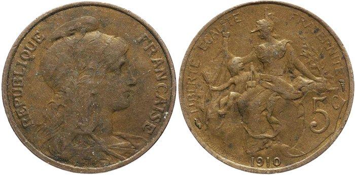 Монета из бронзы, 5 сантимов, Франция, 1910 год
