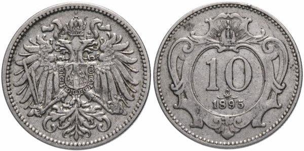 Никелевая монета 10 геллеров, Австро-Венгрия, 1895 год