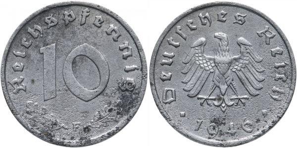 Цинковая монета 10 пфеннингов, Германия, 1946 год
