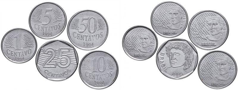 1, 5, 10, 25 и 50 сентаво, Бразилия, 1994-1995 гг.