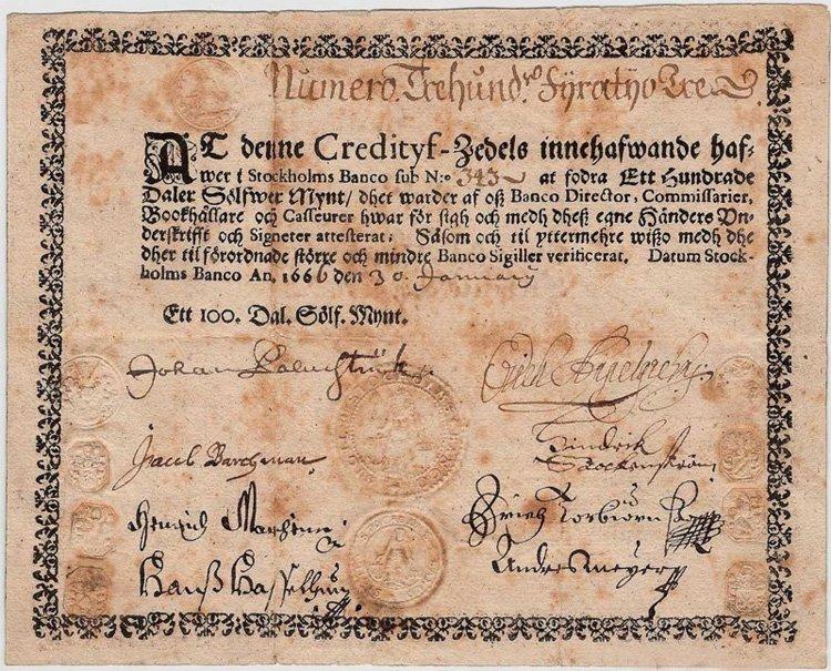 Банкнота Швеции первых лет выпуска