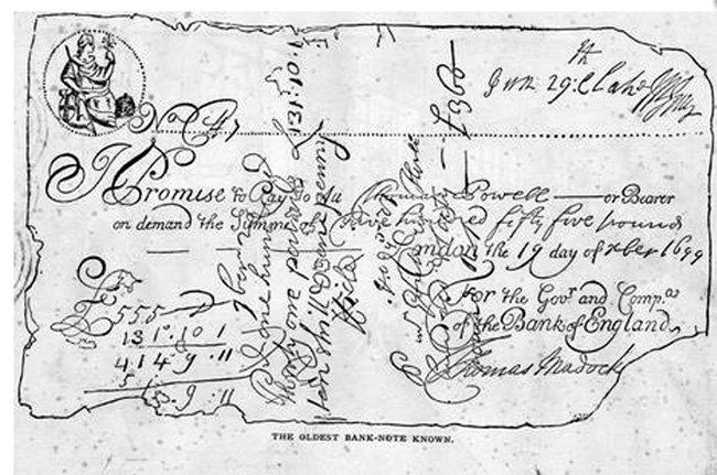 Старейшая банкнота Англии из ныне известных