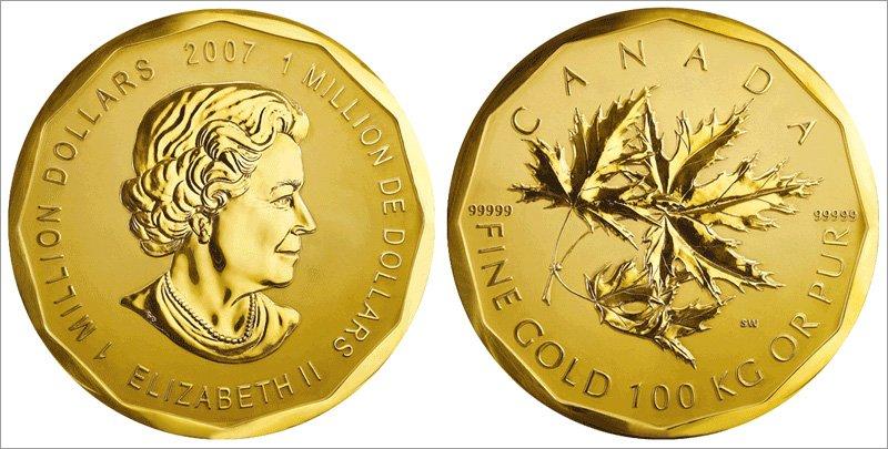 Центнер золота номиналом 1 000 000 канадских долларов