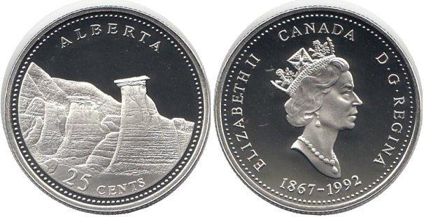 """25 канадских центов из серии """"125-летие образования Конфедерации"""""""