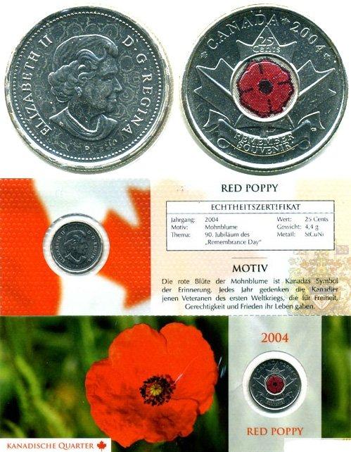 Памятно-оборотные 25 центов в цветном исполнении