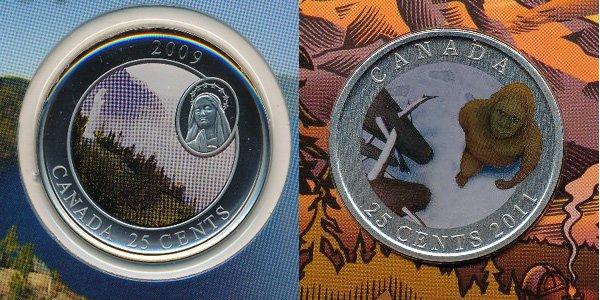 Примеры коллекционных 25-ти канадских центов последних лет