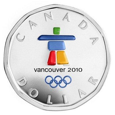 Олимпийский доллар с цветной эмблемой