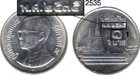 Дата и номинал на монете Таиланда