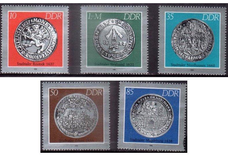 Старинные немецкие монеты на почтовых марках ГДР