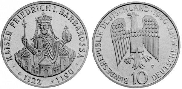 Фридрих Барбаросса на монете Германии