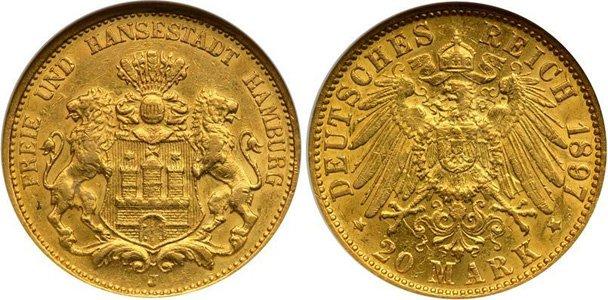 Золотая монета ганзейского города Гамбурга