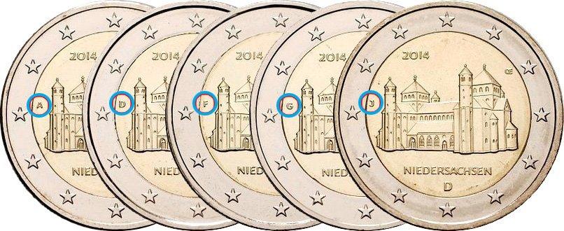 Памятная монета 2 евро (все пять дворов Германии)