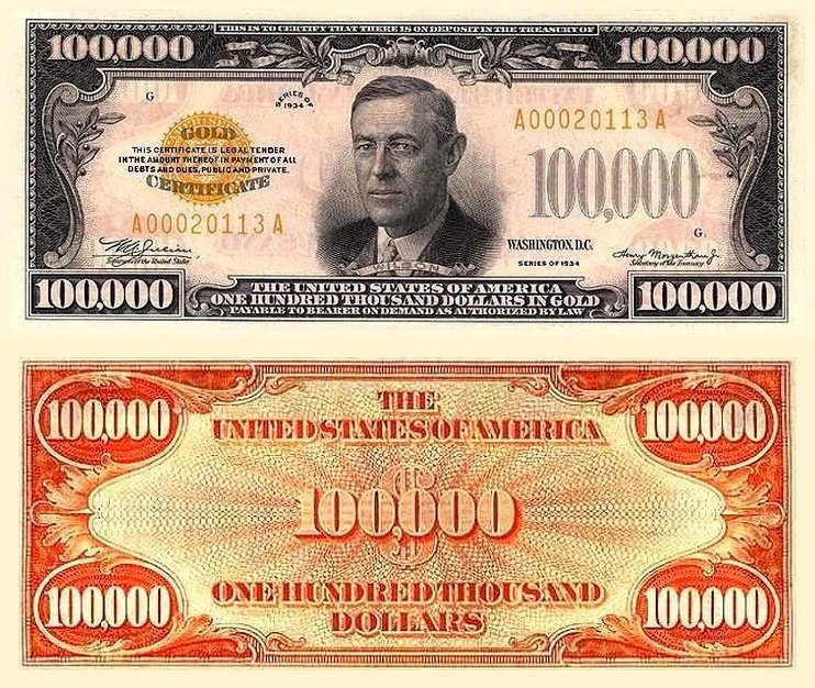 Редкая банкнота 100 000 долларов 1934 года