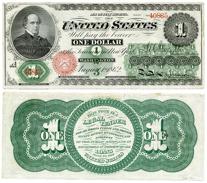 """Первые доллары США: лицевая сторона и зелёная """"спинка"""""""