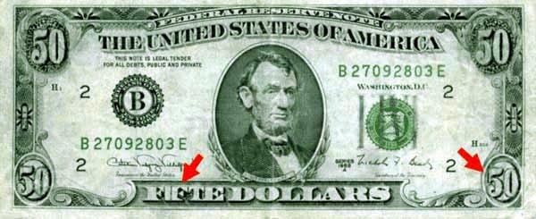 Перерисовка пятидолларовой банкноты, повысившая её номинал на порядок