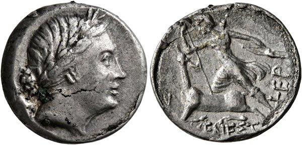 Аверс: богиня Дева, реверс: она же, целящаяся в оленя