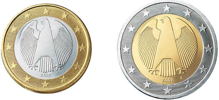 Обозначение Монетного двора Мюнхена (D) и Берлина (А) на современных евромонетах