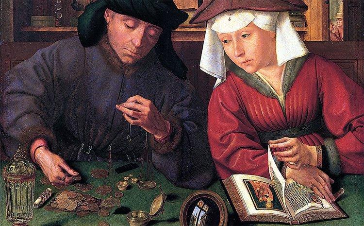 """Квентин Массейс, """"Меняла с женой"""" (около 1510-1515,  дерево, масло. 71x68)"""