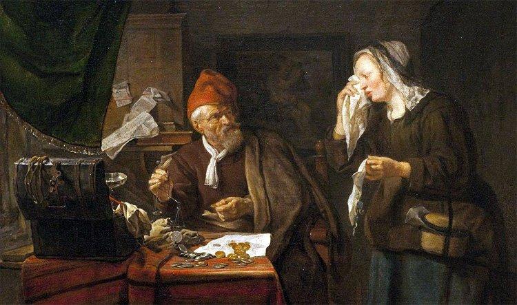 Габриэль Метсю, «Ростовщик и плачущая женщина» (1654)