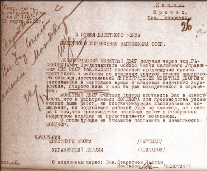 Выпуск золотых монет Николая II на Ленинградском монетном дворе