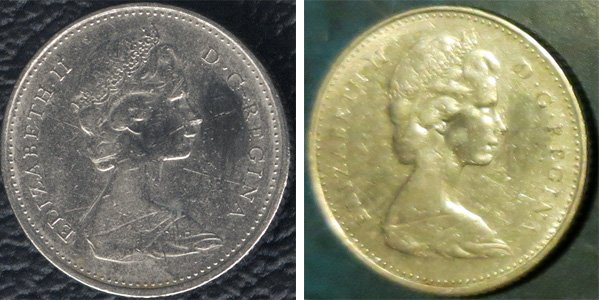 Неудачный скан (слева) уплощает изображение и акцентирует дефекты, а даже расплывчатый снимок (справа) при хорошем освещении передаёт рельеф портрета Елизаветы II