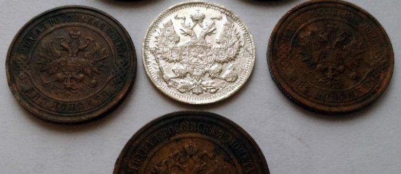 """Несколько монет на одном снимке: """"засвеченное"""" серебро и """"тёмная"""" медь"""