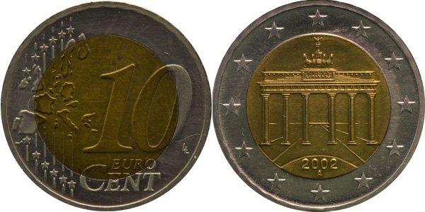 Биметаллические 10 евроцентов Германии