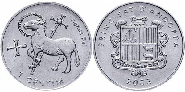 Андорра 1 сантим 2002 года «Агнец Божий»