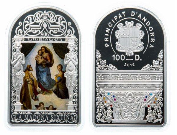 Андорра, 100 денье 2012 года «Сикстинская мадонна» Рафаэль Санти