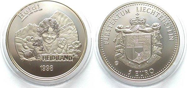 Лихтенштейн, 5 евро 1998 года «Хайди»