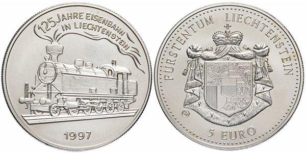 Лихтенштейн, 5 евро 1997 года «125-лет железной дороге Лихтенштейна»