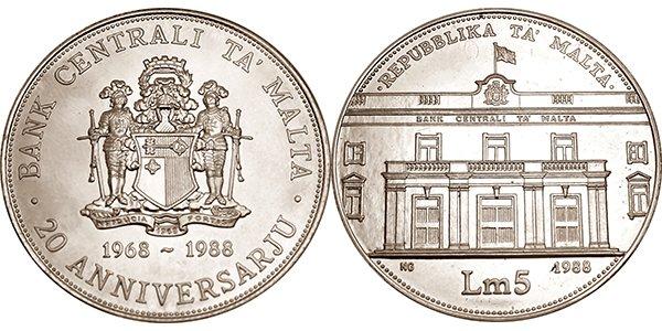 Мальта, 5 лир 1988 года «20-летие Мальтийского Центрального Банка»