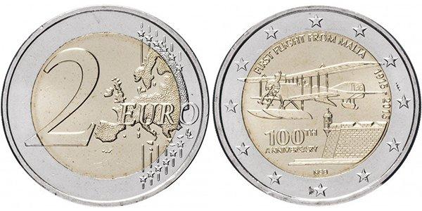 Мальта, 2 евро 2015 года «100-летие первого авиаперелета с территории Мальты»