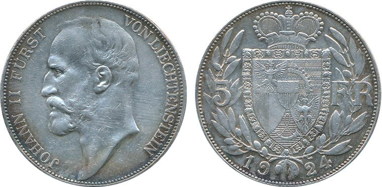 Лихтенштейн, 5 франков 1924 года