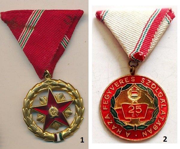 1 - медаль «За службу Родине» и 2 - медаль «За 25 лет службы»