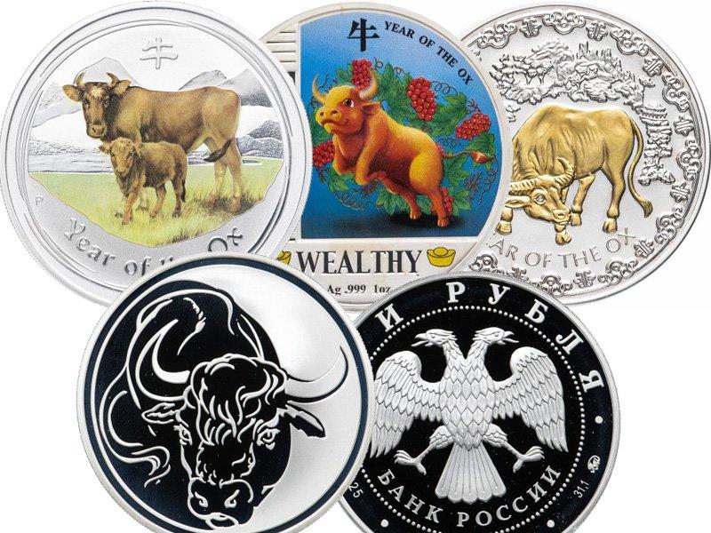 """Монеты """"Год быка"""" различных стран мира"""