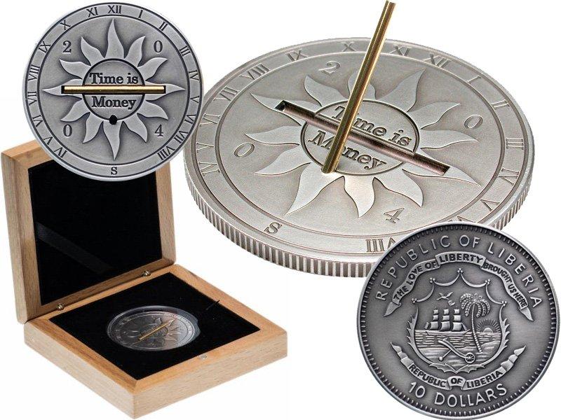 """Монета - солнечные часы """"Time is Money"""""""