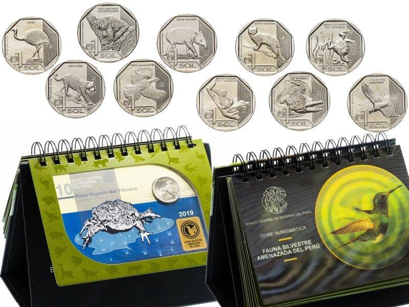 "Перекидной набор с монетами Перу на тему ""Фауна"""