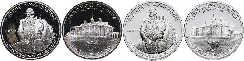 Монета номиналом 1/2 доллара «250 лет со дня рождения Джорджа Вашингтона», два варианта, 1982 год