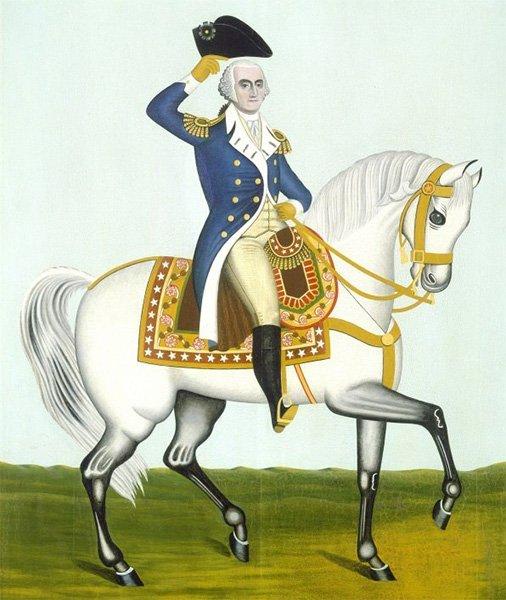 Портрет Вашингтона на белом коне (неизвестный американский художник)